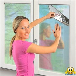 Солнцезащитная тонировочная пленка для окон с зеркальным эффектом (размер 0,7х5,4 метра), затемнением до 70%, многоразовая Original - фото 6199